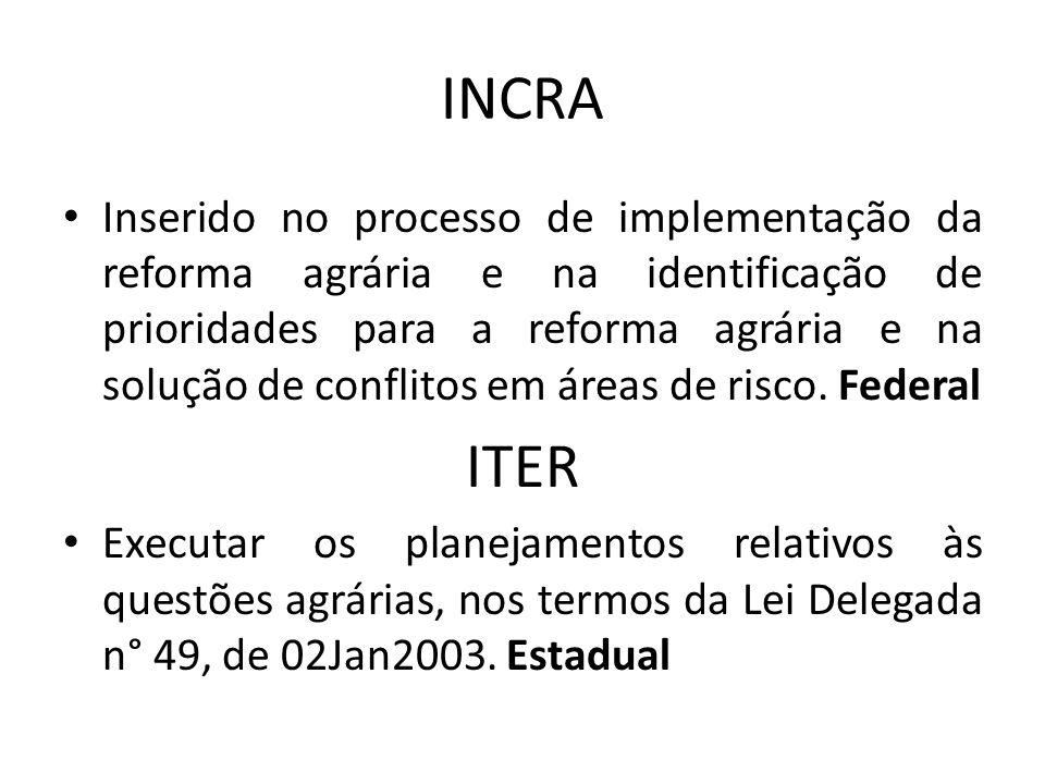 INCRA Inserido no processo de implementação da reforma agrária e na identificação de prioridades para a reforma agrária e na solução de conflitos em á