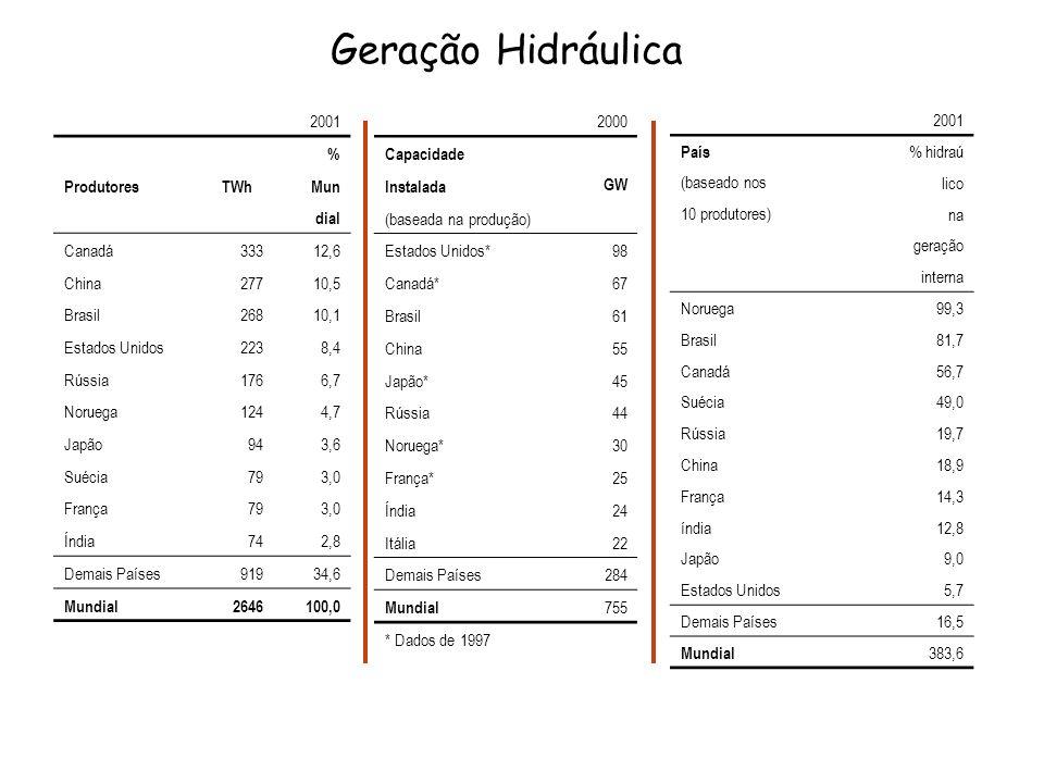 Geração Hidráulica 2001 % ProdutoresTWhMun dial Canadá33312,6 China27710,5 Brasil26810,1 Estados Unidos2238,4 Rússia1766,7 Noruega1244,7 Japão943,6 Su