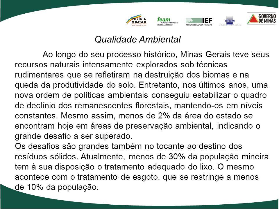 Ao longo do seu processo histórico, Minas Gerais teve seus recursos naturais intensamente explorados sob técnicas rudimentares que se refletiram na de