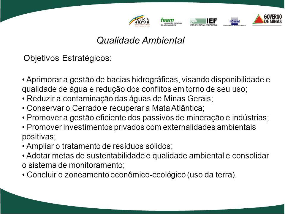 Objetivos Estratégicos: Qualidade Ambiental Aprimorar a gestão de bacias hidrográficas, visando disponibilidade e qualidade de água e redução dos conf