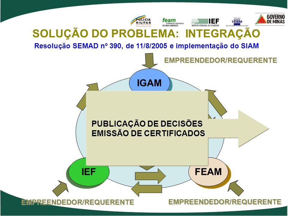 IEF FEAM IGAM EMPREENDEDOR/REQUERENTE EMPREENDEDOR/REQUERENTE EMPREENDEDOR/REQUERENTE SOLUÇÃO DO PROBLEMA: INTEGRAÇÃO Resolução SEMAD nº 390, de 11/8/