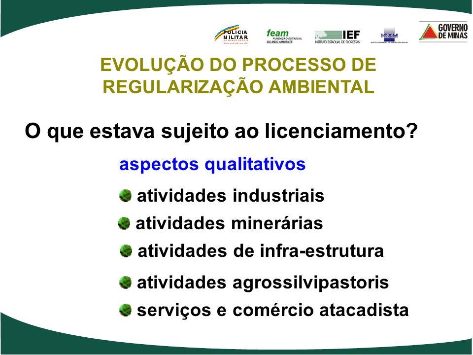 O que estava sujeito ao licenciamento? atividades industriais atividades minerárias atividades de infra-estrutura serviços e comércio atacadista aspec