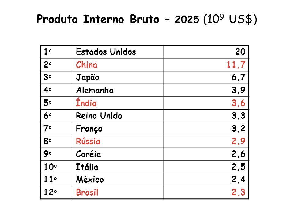Produto Interno Bruto – 2025 (10 9 US$) 1o1o Estados Unidos20 2o2o China11,7 3o3o Japão6,7 4o4o Alemanha3,9 5o5o Índia3,6 6o6o Reino Unido3,3 7o7o Fra