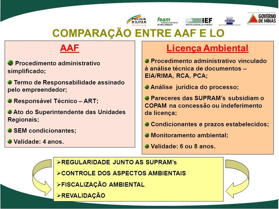AAF Procedimento administrativo simplificado; Termo de Responsabilidade assinado pelo empreendedor; Responsável Técnico – ART; Ato do Superintendente