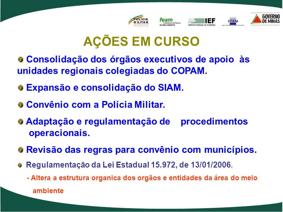 Consolidação dos órgãos executivos de apoio às unidades regionais colegiadas do COPAM. Expansão e consolidação do SIAM. Convênio com a Polícia Militar