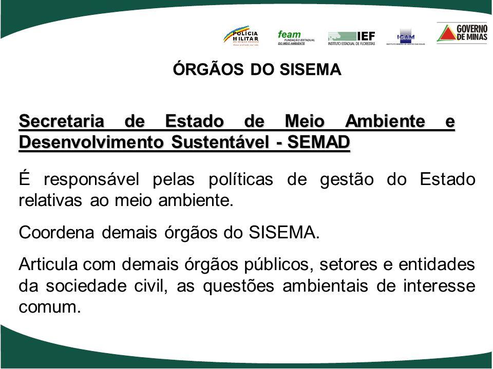 Secretaria de Estado de Meio Ambiente e Desenvolvimento Sustentável - SEMAD É responsável pelas políticas de gestão do Estado relativas ao meio ambien