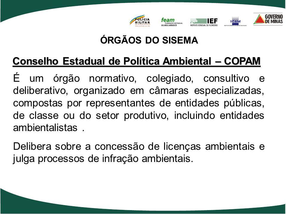 Conselho Estadual de Política Ambiental – COPAM É um órgão normativo, colegiado, consultivo e deliberativo, organizado em câmaras especializadas, comp