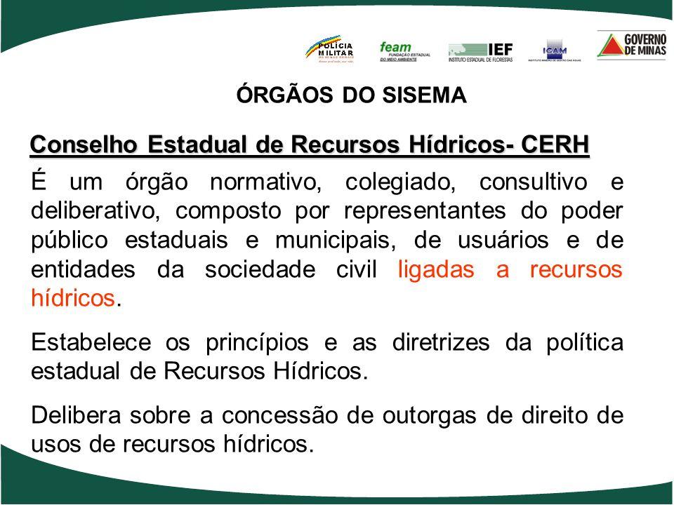 Conselho Estadual de Recursos Hídricos- CERH É um órgão normativo, colegiado, consultivo e deliberativo, composto por representantes do poder público