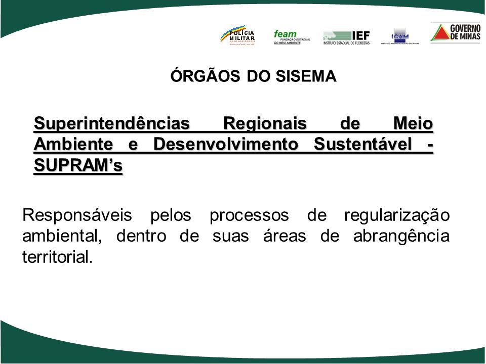 Superintendências Regionais de Meio Ambiente e Desenvolvimento Sustentável - SUPRAMs Responsáveis pelos processos de regularização ambiental, dentro d