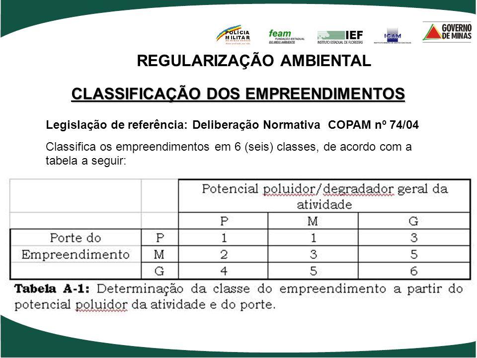 CLASSIFICAÇÃO DOS EMPREENDIMENTOS Legislação de referência: Deliberação Normativa COPAM nº 74/04 Classifica os empreendimentos em 6 (seis) classes, de