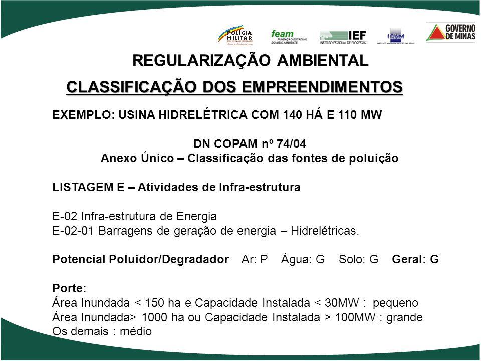 CLASSIFICAÇÃO DOS EMPREENDIMENTOS EXEMPLO: USINA HIDRELÉTRICA COM 140 HÁ E 110 MW DN COPAM nº 74/04 Anexo Único – Classificação das fontes de poluição