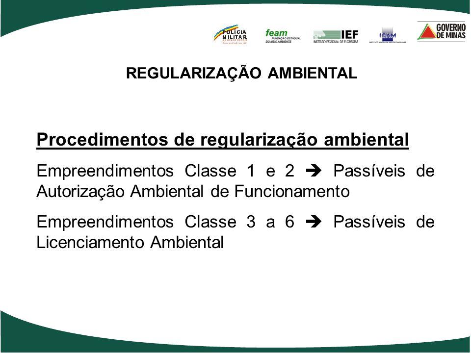 REGULARIZAÇÃO AMBIENTAL Procedimentos de regularização ambiental Empreendimentos Classe 1 e 2 Passíveis de Autorização Ambiental de Funcionamento Empr