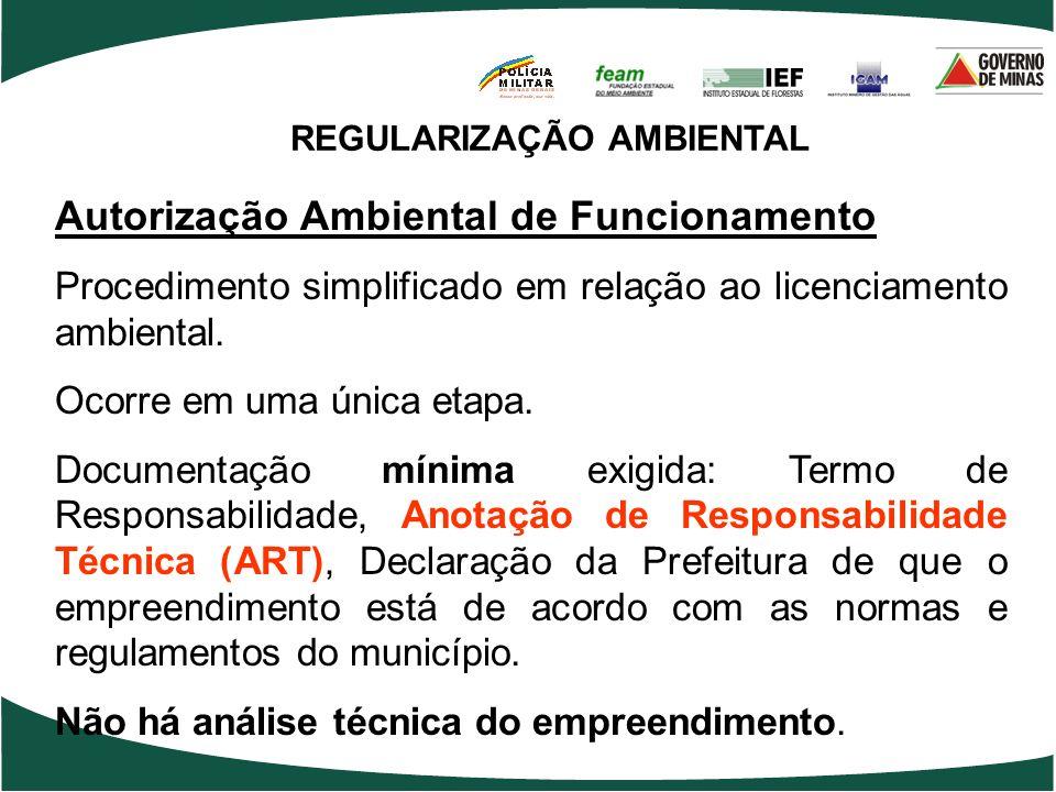 REGULARIZAÇÃO AMBIENTAL Autorização Ambiental de Funcionamento Procedimento simplificado em relação ao licenciamento ambiental. Ocorre em uma única et