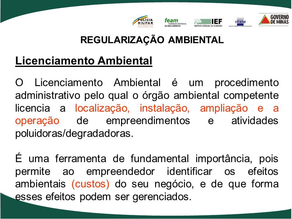 REGULARIZAÇÃO AMBIENTAL Licenciamento Ambiental O Licenciamento Ambiental é um procedimento administrativo pelo qual o órgão ambiental competente lice