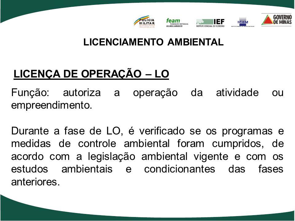 LICENCIAMENTO AMBIENTAL LICENÇA DE OPERAÇÃO – LO Função: autoriza a operação da atividade ou empreendimento. Durante a fase de LO, é verificado se os