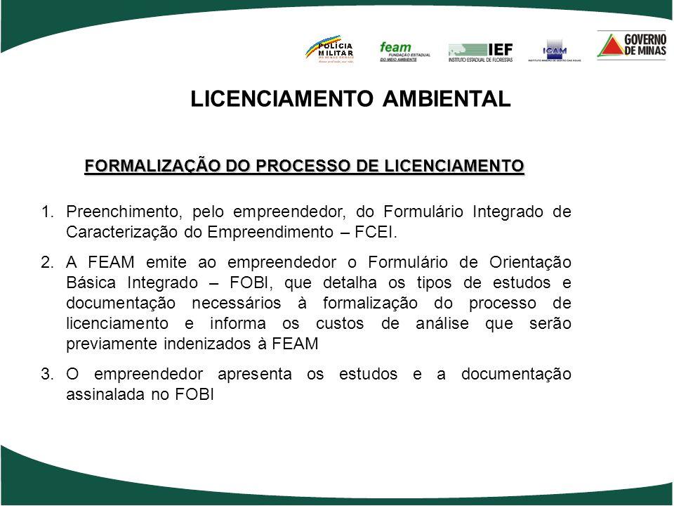 LICENCIAMENTO AMBIENTAL FORMALIZAÇÃO DO PROCESSO DE LICENCIAMENTO 1.Preenchimento, pelo empreendedor, do Formulário Integrado de Caracterização do Emp