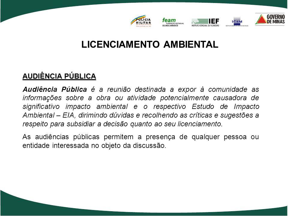 LICENCIAMENTO AMBIENTAL AUDIÊNCIA PÚBLICA Audiência Pública é a reunião destinada a expor à comunidade as informações sobre a obra ou atividade potenc
