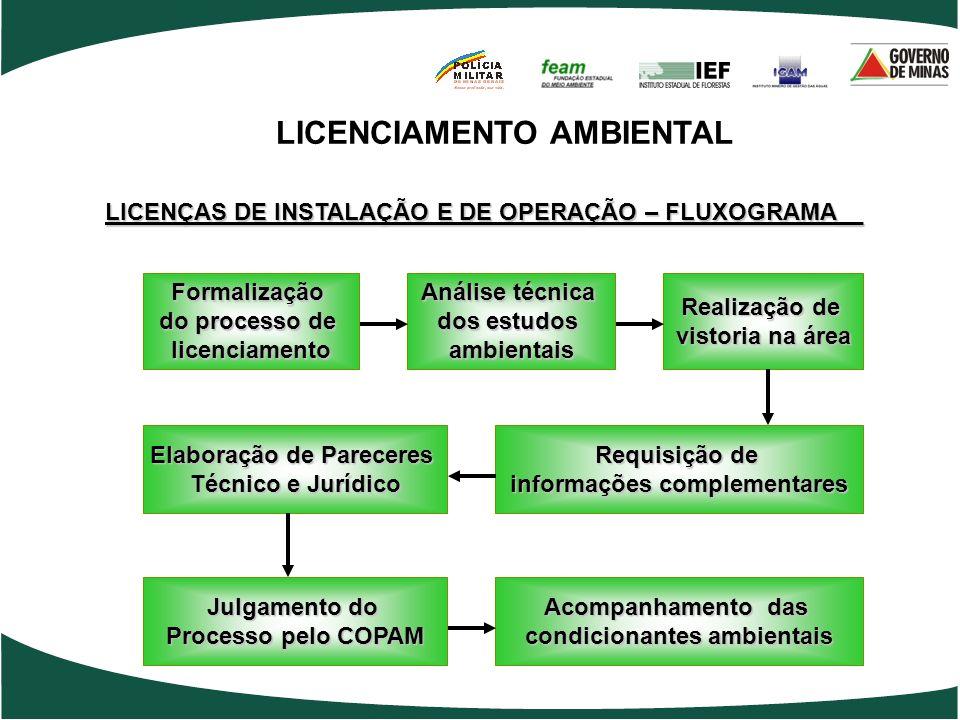 LICENCIAMENTO AMBIENTAL LICENÇAS DE INSTALAÇÃO E DE OPERAÇÃO – FLUXOGRAMA__ Formalização do processo de licenciamento Análise técnica dos estudos ambi