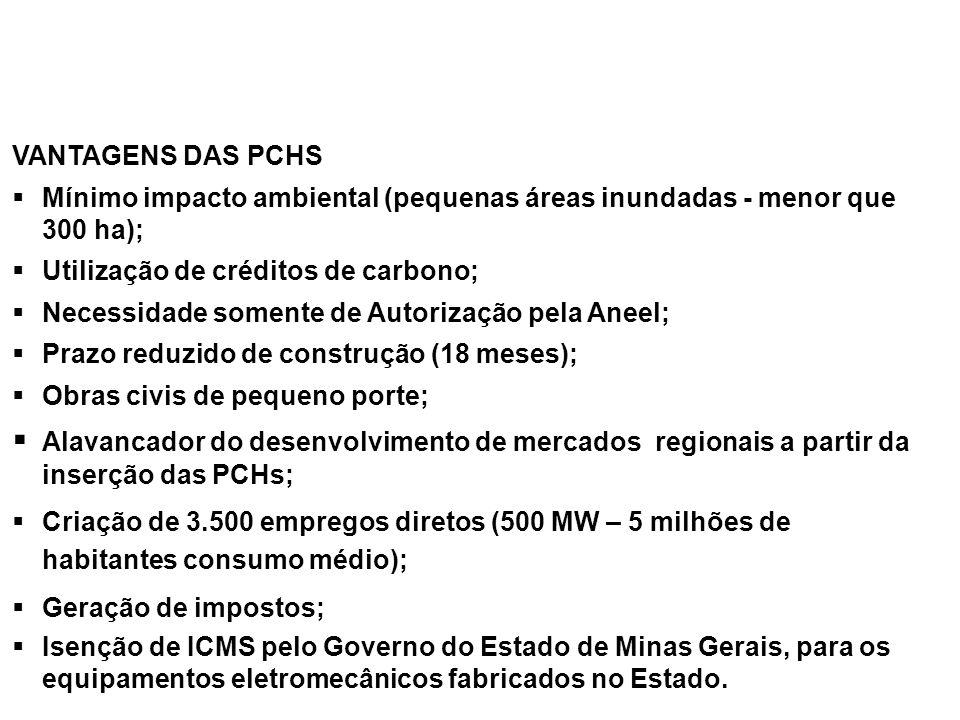 VANTAGENS DAS PCHS Mínimo impacto ambiental (pequenas áreas inundadas - menor que 300 ha); Utilização de créditos de carbono; Necessidade somente de A
