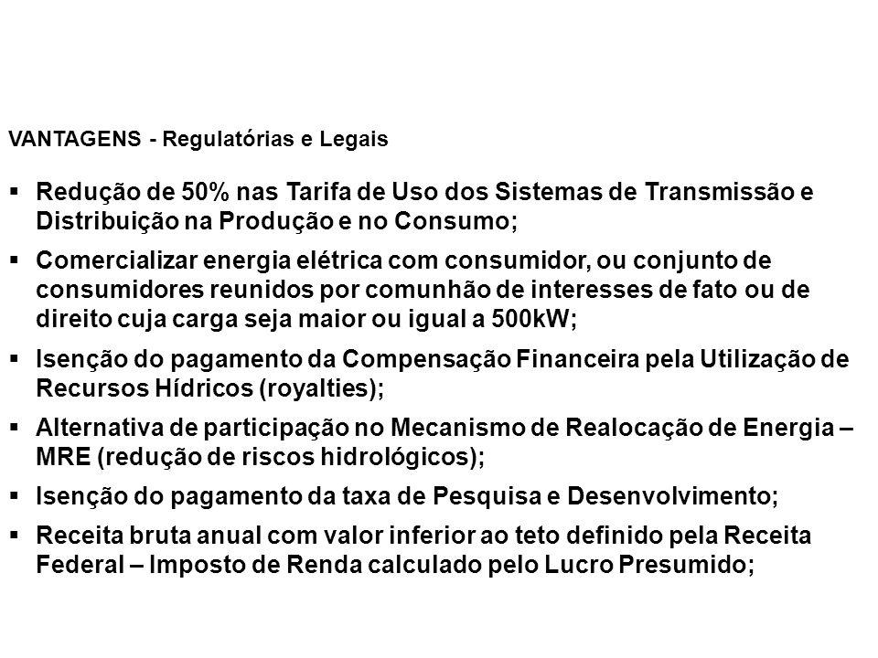 § Redução de 50% nas Tarifa de Uso dos Sistemas de Transmissão e Distribuição na Produção e no Consumo; § Comercializar energia elétrica com consumido