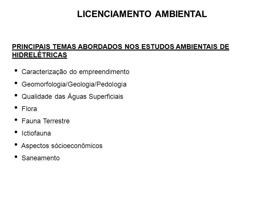 LICENCIAMENTO AMBIENTAL PRINCIPAIS TEMAS ABORDADOS NOS ESTUDOS AMBIENTAIS DE HIDRELÉTRICAS Caracterização do empreendimento Geomorfologia/Geologia/Ped