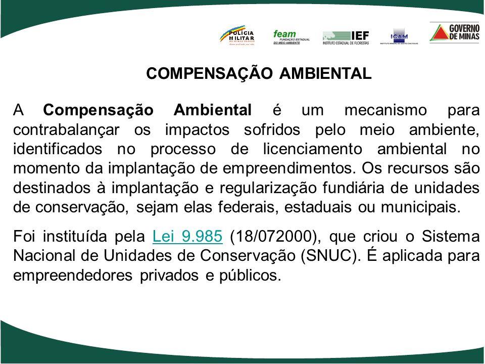 COMPENSAÇÃO AMBIENTAL A Compensação Ambiental é um mecanismo para contrabalançar os impactos sofridos pelo meio ambiente, identificados no processo de