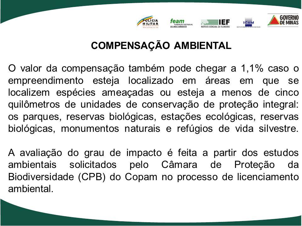 COMPENSAÇÃO AMBIENTAL O valor da compensação também pode chegar a 1,1% caso o empreendimento esteja localizado em áreas em que se localizem espécies a