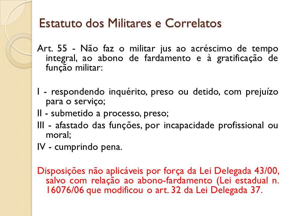 Art. 55 - Não faz o militar jus ao acréscimo de tempo integral, ao abono de fardamento e à gratificação de função militar: I - respondendo inquérito,