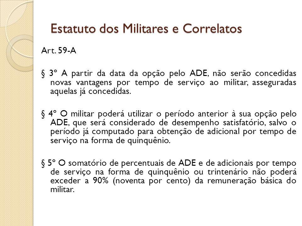 Art. 59-A § 3º A partir da data da opção pelo ADE, não serão concedidas novas vantagens por tempo de serviço ao militar, asseguradas aquelas já conced