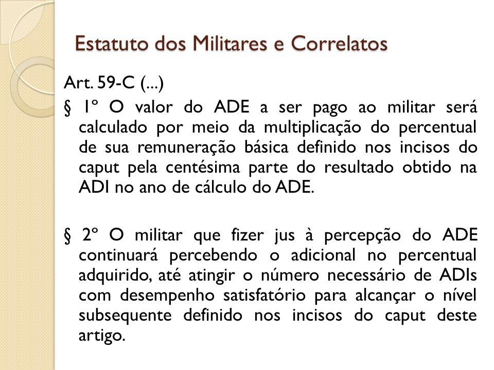 Art. 59-C (...) § 1º O valor do ADE a ser pago ao militar será calculado por meio da multiplicação do percentual de sua remuneração básica definido no
