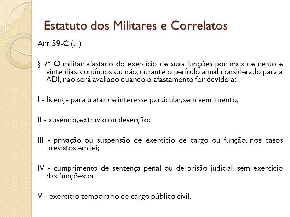 Art. 59-C (...) § 7º O militar afastado do exercício de suas funções por mais de cento e vinte dias, contínuos ou não, durante o período anual conside