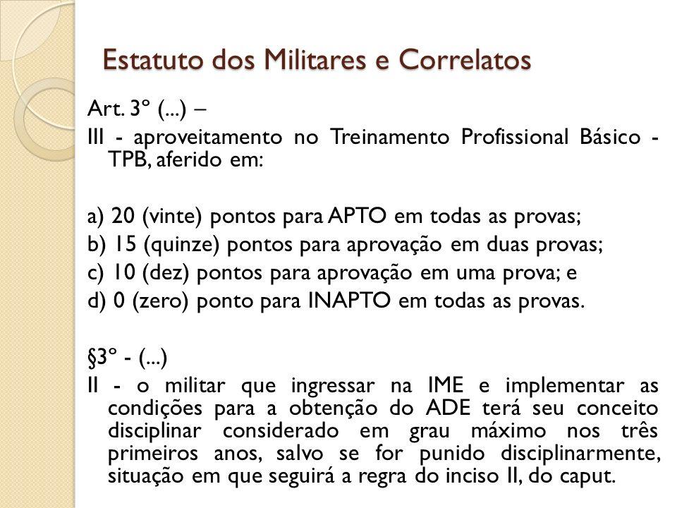 Art. 3º (...) – III - aproveitamento no Treinamento Profissional Básico - TPB, aferido em: a) 20 (vinte) pontos para APTO em todas as provas; b) 15 (q