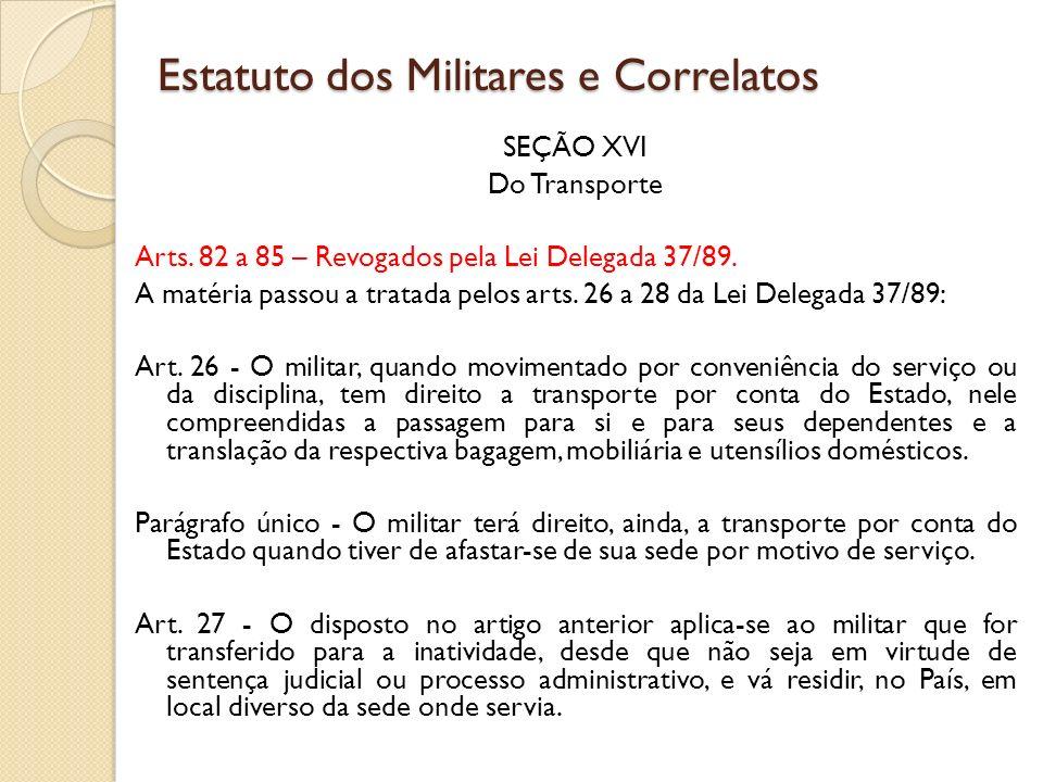 SEÇÃO XVI Do Transporte Arts.82 a 85 – Revogados pela Lei Delegada 37/89.