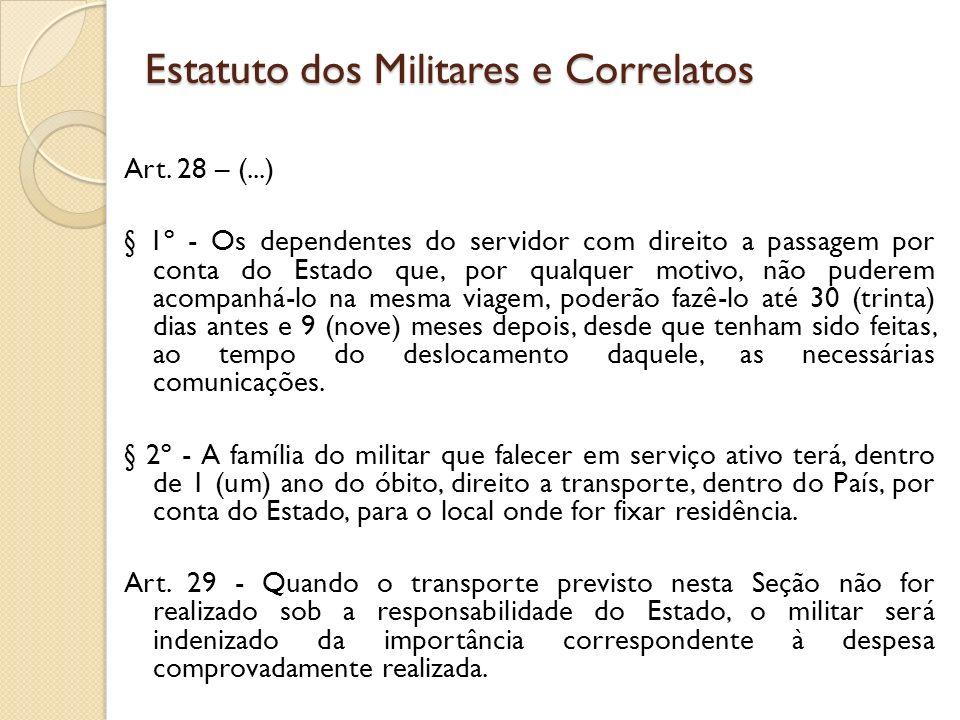 Art. 28 – (...) § 1º - Os dependentes do servidor com direito a passagem por conta do Estado que, por qualquer motivo, não puderem acompanhá-lo na mes