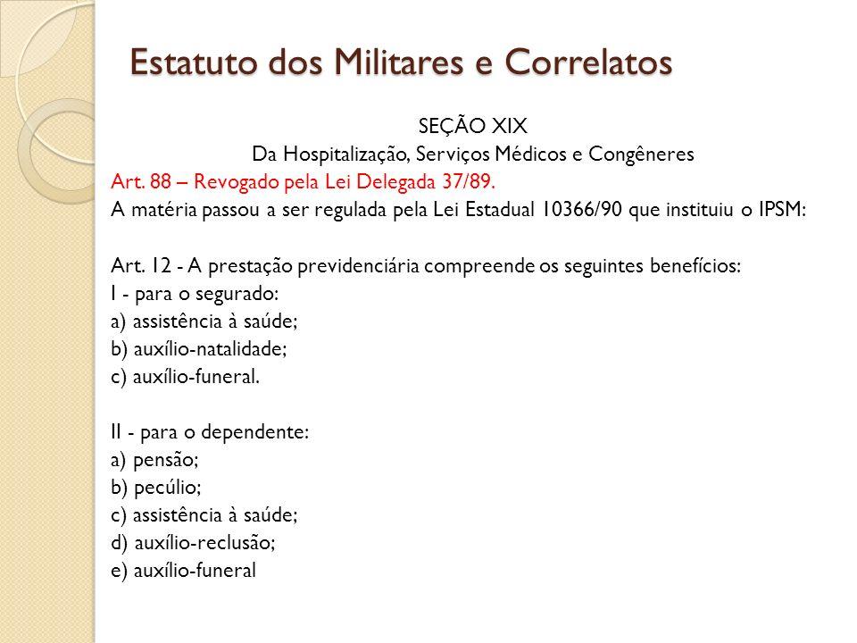 SEÇÃO XIX Da Hospitalização, Serviços Médicos e Congêneres Art.