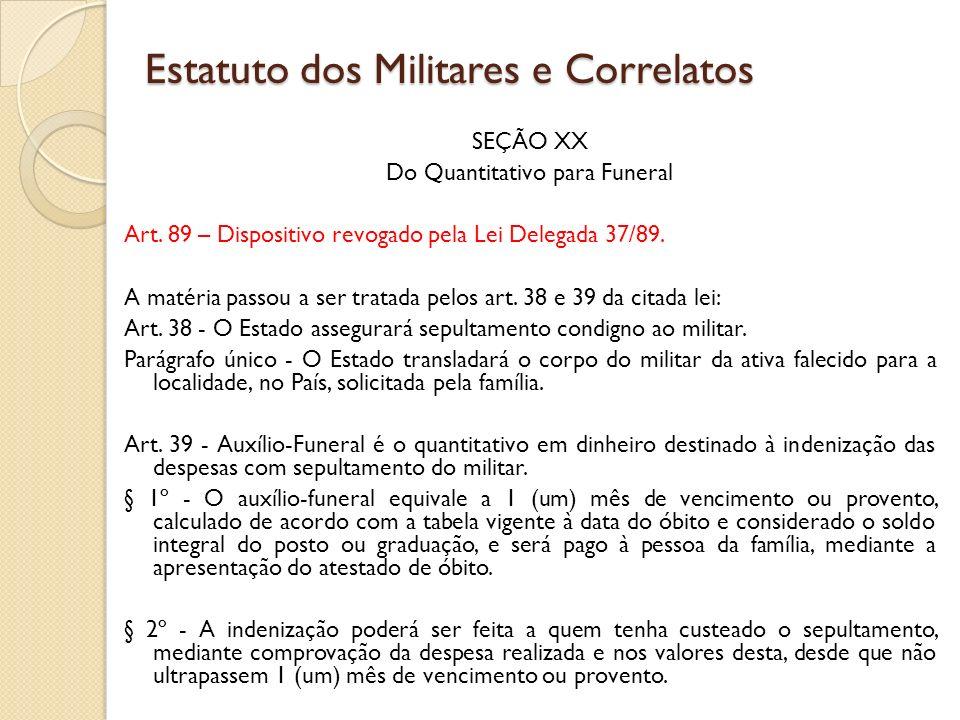 SEÇÃO XX Do Quantitativo para Funeral Art.89 – Dispositivo revogado pela Lei Delegada 37/89.