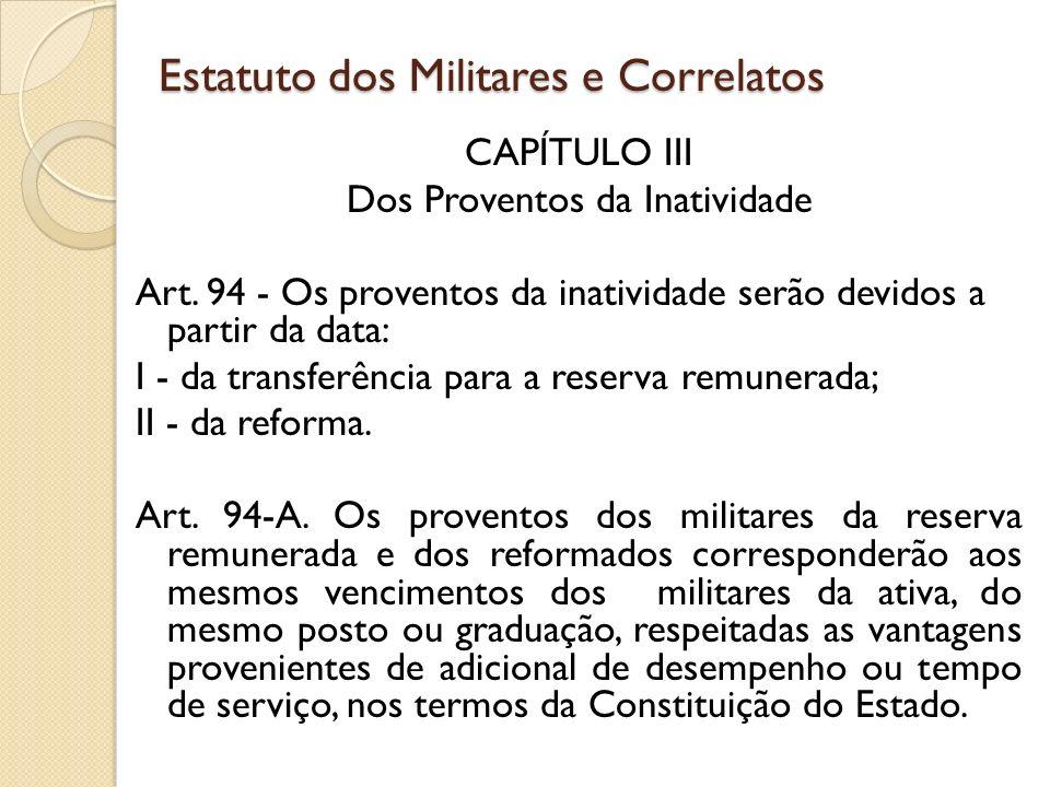 CAPÍTULO III Dos Proventos da Inatividade Art.