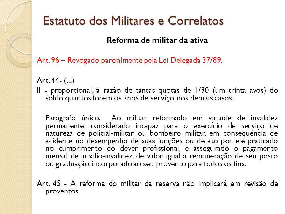 Reforma de militar da ativa Art.96 – Revogado parcialmente pela Lei Delegada 37/89.