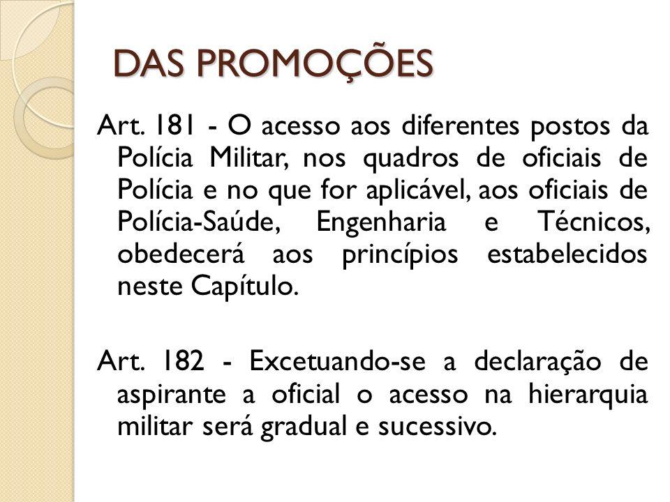 Art. 181 - O acesso aos diferentes postos da Polícia Militar, nos quadros de oficiais de Polícia e no que for aplicável, aos oficiais de Polícia-Saúde