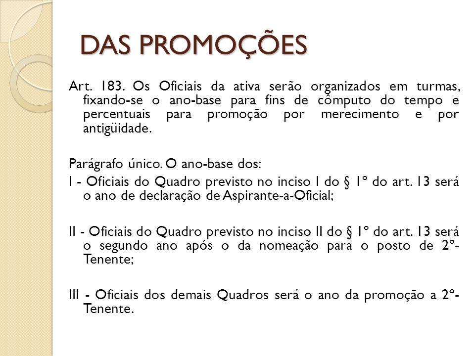 DAS PROMOÇÕES Art.183.