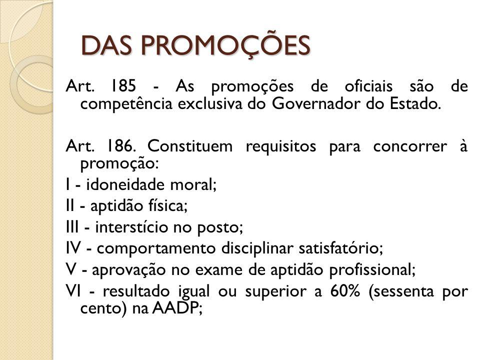 Art.185 - As promoções de oficiais são de competência exclusiva do Governador do Estado.