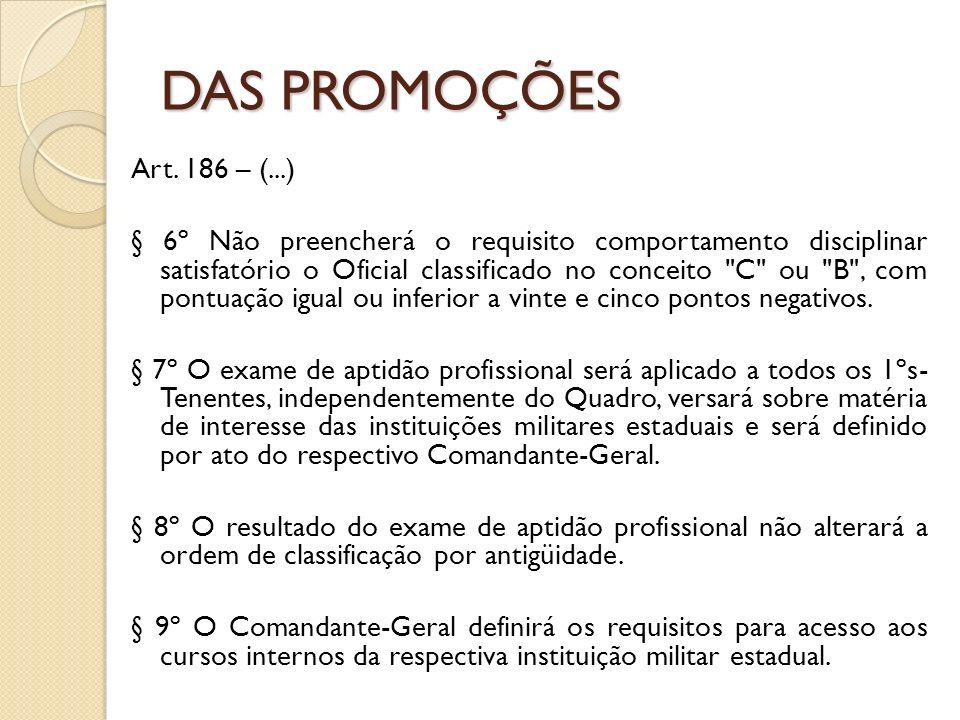 Art. 186 – (...) § 6º Não preencherá o requisito comportamento disciplinar satisfatório o Oficial classificado no conceito