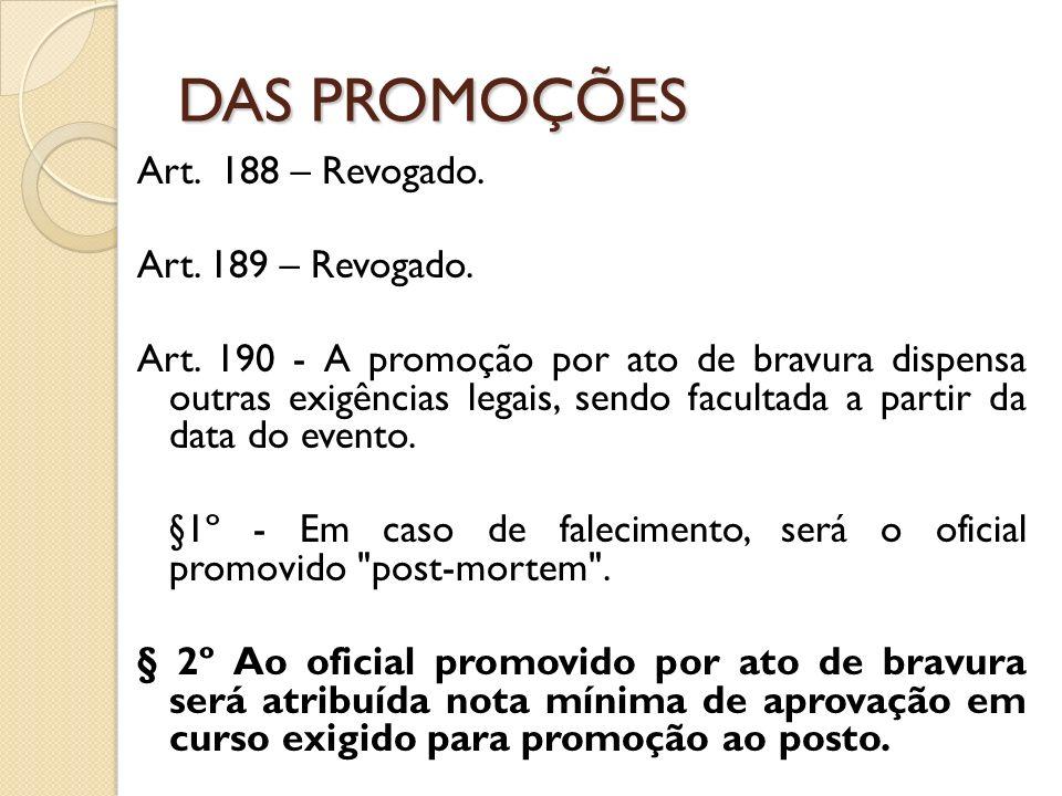 Art.188 – Revogado. Art. 189 – Revogado. Art.