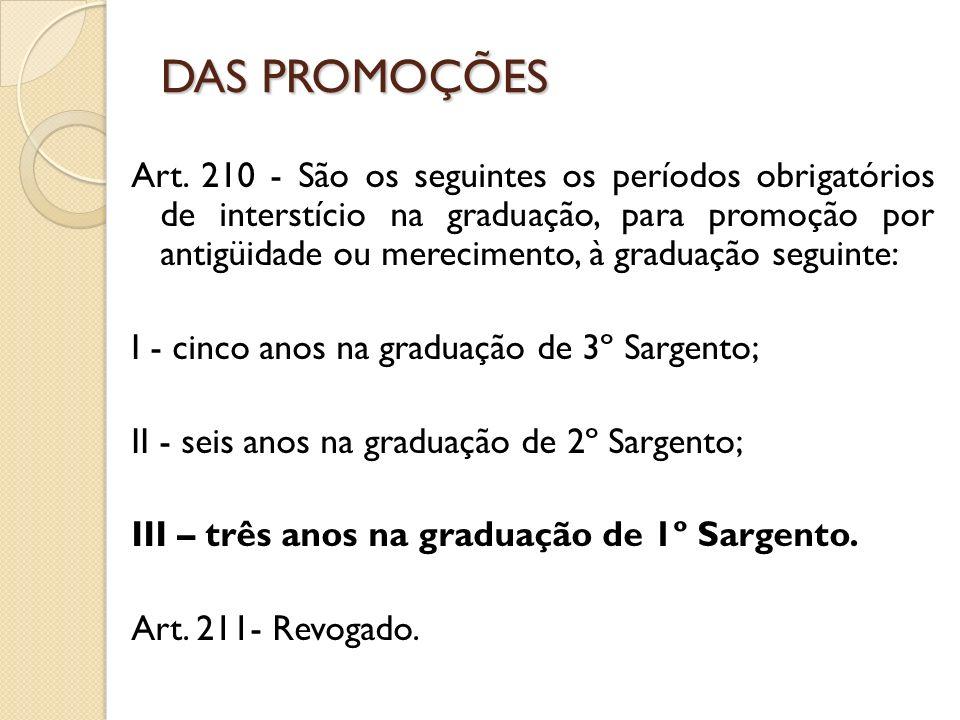 Art. 210 - São os seguintes os períodos obrigatórios de interstício na graduação, para promoção por antigüidade ou merecimento, à graduação seguinte: