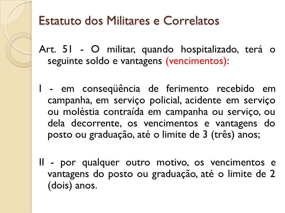 Art. 51 - O militar, quando hospitalizado, terá o seguinte soldo e vantagens (vencimentos): I - em conseqüência de ferimento recebido em campanha, em