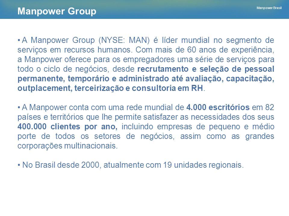 Manpower Brasil A Manpower Group (NYSE: MAN) é líder mundial no segmento de serviços em recursos humanos. Com mais de 60 anos de experiência, a Manpow