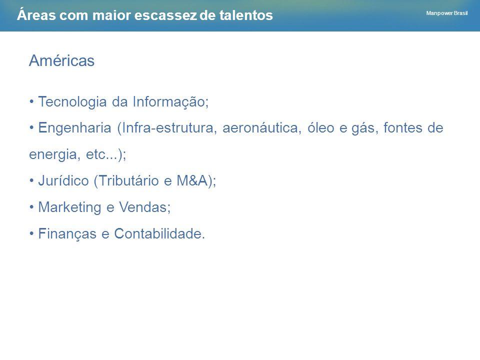 Manpower Brasil Áreas com maior escassez de talentos Américas Tecnologia da Informação; Engenharia (Infra-estrutura, aeronáutica, óleo e gás, fontes d