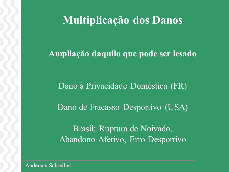 Anderson Schreiber Multiplicação dos Danos Ampliação daquilo que pode ser lesado Dano à Privacidade Doméstica (FR) Dano de Fracasso Desportivo (USA) B