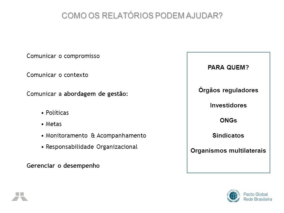 COMO OS RELATÓRIOS PODEM AJUDAR? Comunicar o compromisso Comunicar o contexto Comunicar a abordagem de gestão: Políticas Metas Monitoramento & Acompan