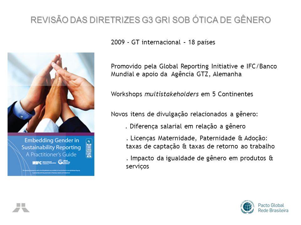 REVISÃO DAS DIRETRIZES G3 GRI SOB ÓTICA DE GÊNERO 2009 - GT internacional – 18 países Promovido pela Global Reporting Initiative e IFC/Banco Mundial e